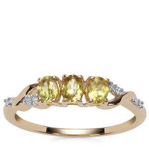 Ambilobe Sphene Ring with Diamond in 9K Gold 0.58ct