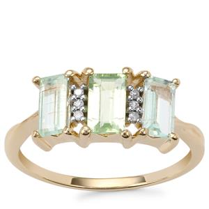 Paraiba Tourmaline Ring with Diamond in 10K Gold 1.41cts