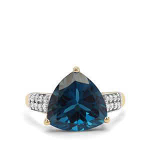 London Blue Topaz & White Zircon 9K Gold Ring ATGW 7.33cts