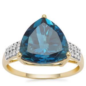 Marambaia London Blue Topaz Ring with White Zircon in 9K Gold 7.33cts