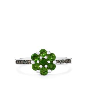 Chrome Diopside Ring with Green Diamond in Sterling Silver 0.89ct