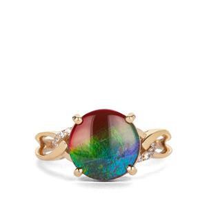 AA Ammolite Ring with White Zircon in 9K Gold (9.50mm)
