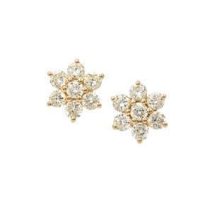 Yellow Diamond Earrings in 18K Gold 0.56ct