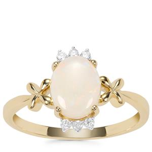 Coober Pedy Opal Ring with Argyle Diamond in 9K Gold 0.95cts