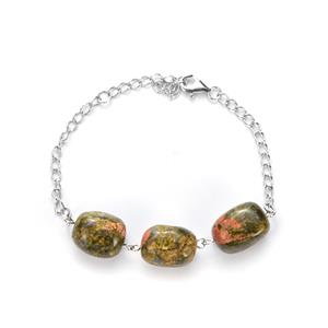 Unakite Bracelet in Sterling Silver 82.90cts
