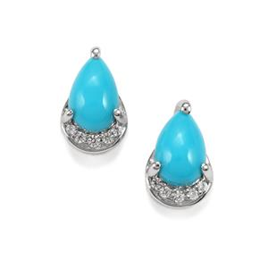Sleeping Beauty Turquoise & White Zircon Platinum Plated Sterling Silver Earrings ATGW 1.53cts