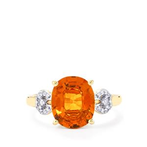 Mandarin Garnet Ring with Diamond in 18K Gold 4.37cts