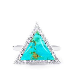 Cochise Turquoise & White Topaz Sterling Silver Ring ATGW 4.94cts