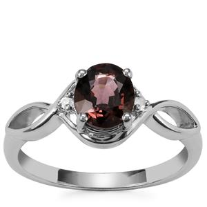 Burmese Multi-Color Spinel Ring with Diamond in Sterling Silver 1.27cts