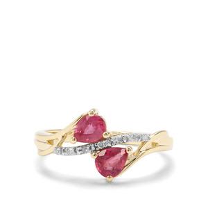 Padparadscha Sapphire & Diamond 9K Gold Ring ATGW 1.11cts