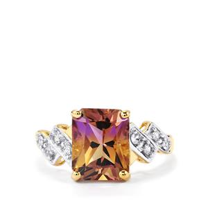 Anahi Ametrine Ring with Ceylon White Sapphire in 10K Gold 3.26cts
