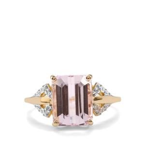 Minas Gerais Kunzite & Diamond 9K Gold Ring ATGW 3.97cts