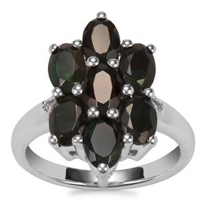 Ethiopian Midnight Opal Ring with White Topaz in Sterling Silver 2.05cts