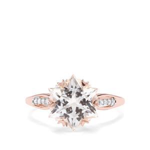 Wobito Snowflake Cut White Topaz & Diamond 9K Rose Gold Ring ATGW 5.87cts
