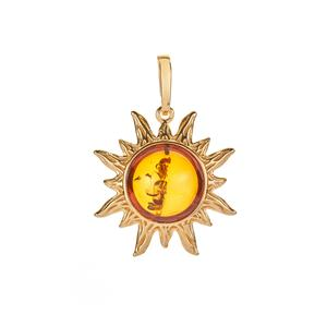 Baltic Cognac Amber Gold Tone Sterling Silver Pendant (13mm)