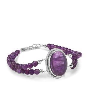 Zambian Amethyst Bead Bracelet in Sterling Silver 44.78cts