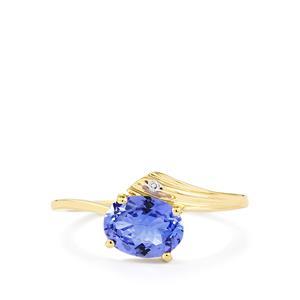 AA Tanzanite & Diamond 10K Gold Ring ATGW 1.16cts