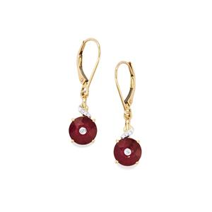 Lehrer QuasarCut Malagasy Ruby Earrings with Diamond in 9K Gold 4.10cts (F)