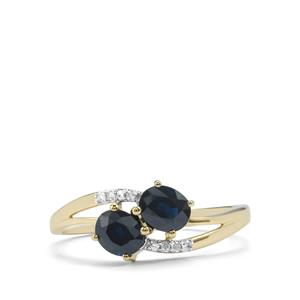 Australian Blue Sapphire Ring with Diamond in 10K Gold 1.12cts