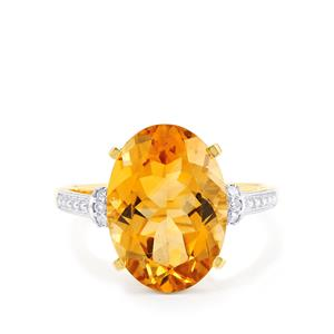 Diamantina Citrine Ring with Diamond in 10k Gold 5.78cts