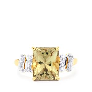 Csarite® Ring with Diamond in 18k Gold 3.75cts