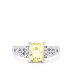 Canary Kunzite & White Topaz Sterling Silver Ring ATGW 2.08cts