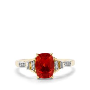 Red Labradorite & White Zircon 9K Gold Ring ATGW 1.30cts