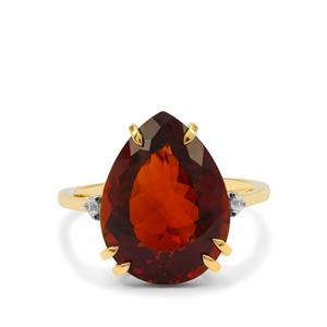 Madeira Citrine Ring with White Zircon in 9K Gold 8.05cts