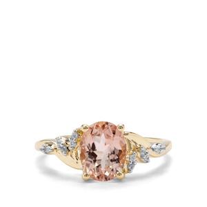 Rose Danburite & White Zircon 9K Gold Ring ATGW 1.95cts