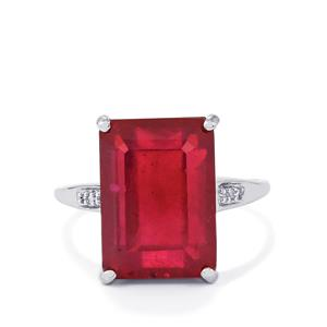 Malagasy Ruby Ring with Diamond in 9K White Gold 12.64cts (F)