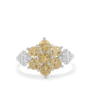 Yellow Beryl Ring with White Zircon in Sterling Silver 1.73cts