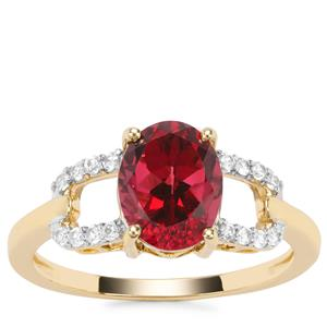 Umba River Garnet Ring with White Zircon in 9K Gold 2.19cts