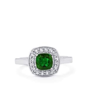 Chrome Diopside Ring with White Topaz in Sterling Silver 1.29cts