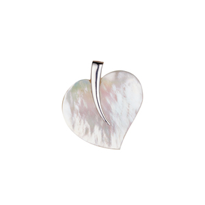 Mother of Pearl Leaf Pendant in Sterling Silver (34.50x33mm)