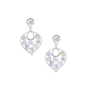 Rainbow Moonstone & Burmese Ruby Sterling Silver Earrings ATGW 8.05cts