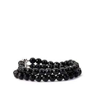 163.30ct Black Agate Sterling Silver 2 Strand Bracelet