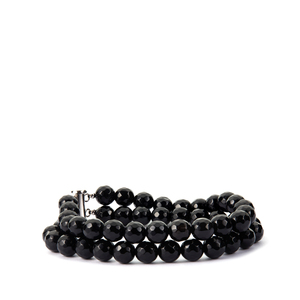 Black Agate 2 Strand Bracelet in Sterling Silver 163.30cts
