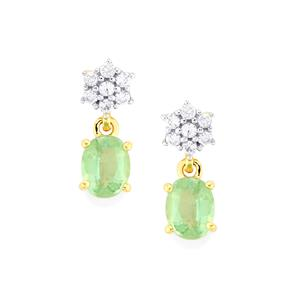 Nuagaon Kyanite & White Zircon 10K Gold Earrings ATGW 1.08cts