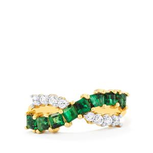 Santa Terezinha Emerald Ring with Zircon in 9K Gold 1.37cts