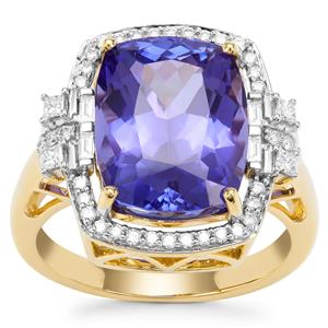 AAA Tanzanite Ring with Diamond in 18K Gold 8.29cts