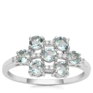 Aquaiba™ Beryl Ring with Diamond in 9K White Gold 0.84cts
