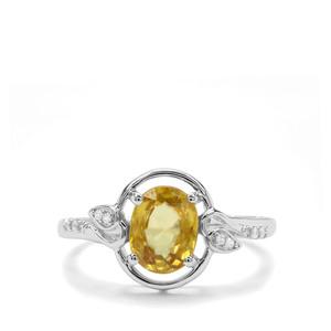 Ambilobe Sphene & White Zircon 9K White Gold Ring ATGW 1.49cts