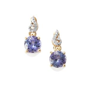 AA Tanzanite Earrings with Diamond in 9K Gold 1.54cts