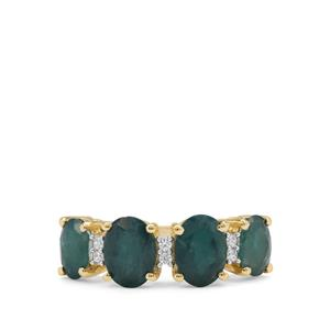 Grandidierite Ring with White Zircon in 9K Gold 2.70cts
