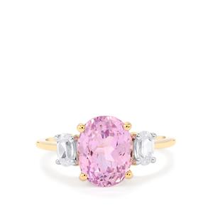 Mawi Kunzite Ring with White Zircon in 10k Gold 4.41cts