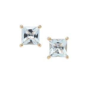 1.68ct Espirito Santo Aquamarine 9K Gold Earrings