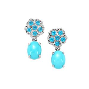 Sleeping Beauty Turquoise & Neon Apatite Platinum Plated Sterling Silver Earrings ATGW 3.80cts