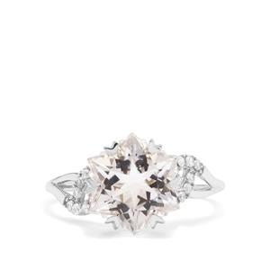 Wobito Snowflake Cut Itinga Petalite & White Zircon 9K White Gold Ring ATGW 4.02cts