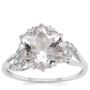 Wobito Snowflake Cut Itinga Petalite Ring with White Zircon in 9K White Gold 4.02cts
