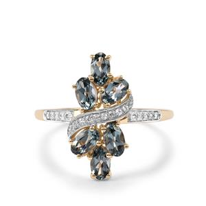 Mahenge Blue Spinel Ring with White Sapphire in 10k Gold 1.59cts